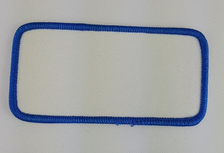 "Rectangle (Blue on White) Blank Embroidery Patch , 2 "" x 4"""