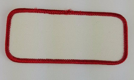 "Rectangle (Red on White) Blank Embroidery Patch , 1 5/8"" x 3 5/8"""