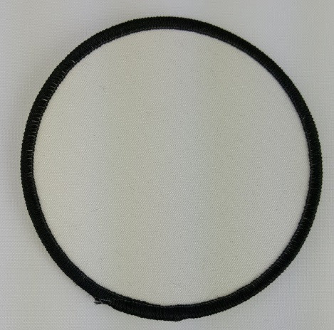 "(Black on White) Blank Embroidery Patch , 3 1/2"" Circle"