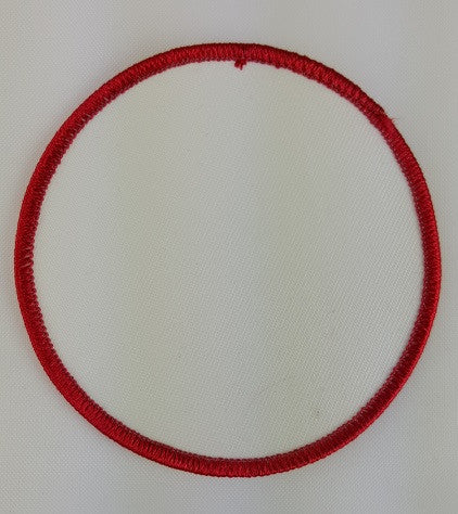 "(Red on White) Blank Embroidery Patch , 3 1/2"" Circle"