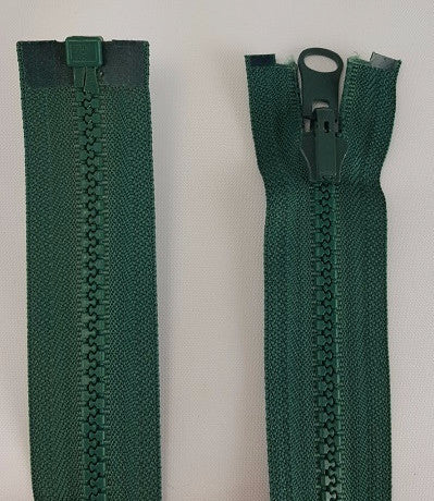 (Dark Green) Reversible Nylon Jacket Zippers 30""
