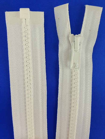 (White) Nylon Jacket Zippers, One Way, Molded Teeth 22""