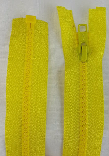 (Lemon) Nylon Jacket Zippers, One Way, Molded Teeth 22""