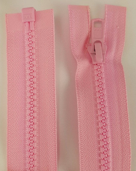 (Pink) Nylon Jacket Zippers, One Way, Molded Teeth 14""