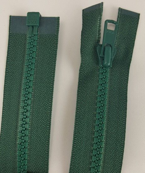 (Dark Green) Nylon Jacket Zippers, One Way, Molded Teeth 14""