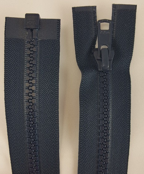 (Navy) Nylon Jacket Zippers, One Way, Molded Teeth 22""