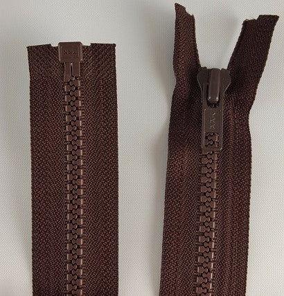 (Brown) Nylon Jacket Zippers, One Way, Molded Teeth 14""