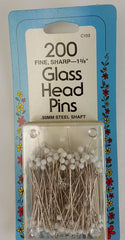 Glass Head Pins, 1 3/8""