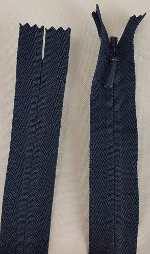 (Navy) Invisible Zippers, Closed Bottom, 22""