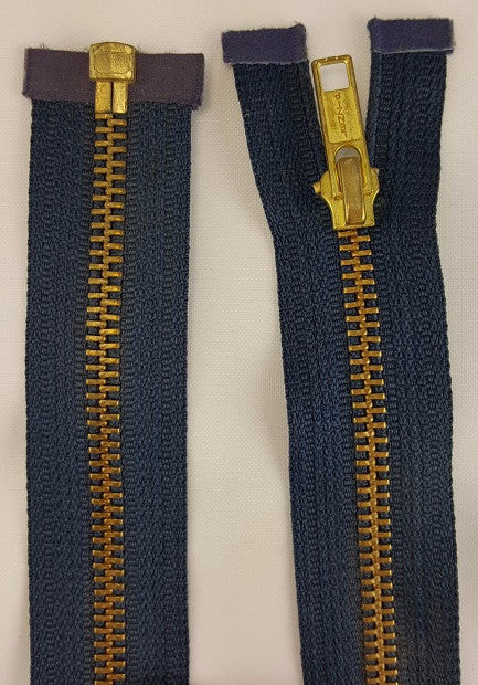 (Navy) Brass Metal Separating Zippers, 18""
