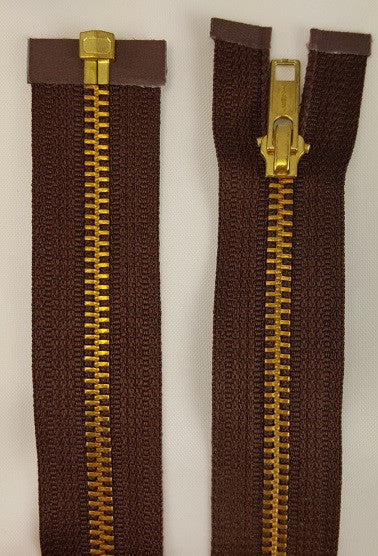 (Brown) Brass Metal Separating Zippers, 18""