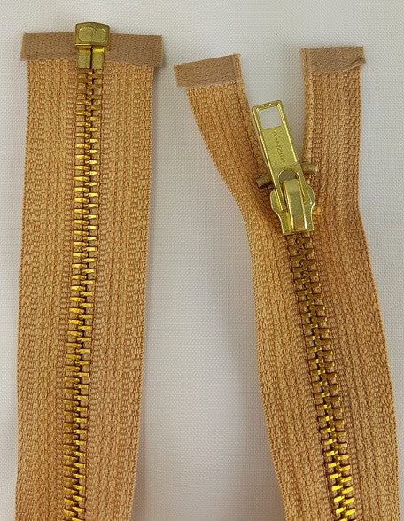 (Beige) Brass Metal Separating Zippers, 18""