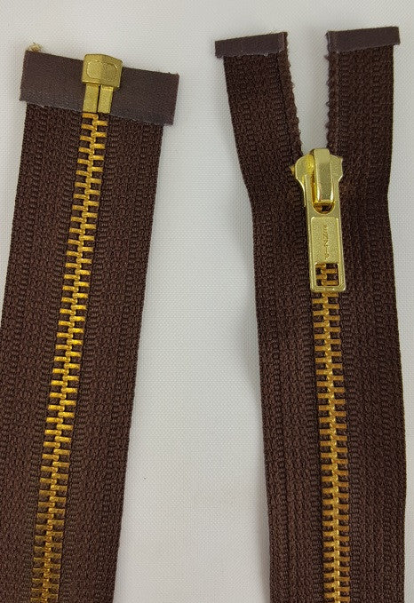 (Brown) Brass Metal Separating Zippers, 22""