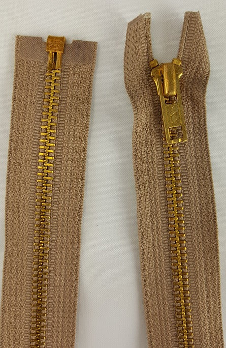 (Beige) Brass Metal Separating Zippers, 22""