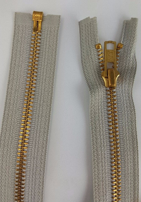 (Grey) Brass Metal Separating Zippers, 22""