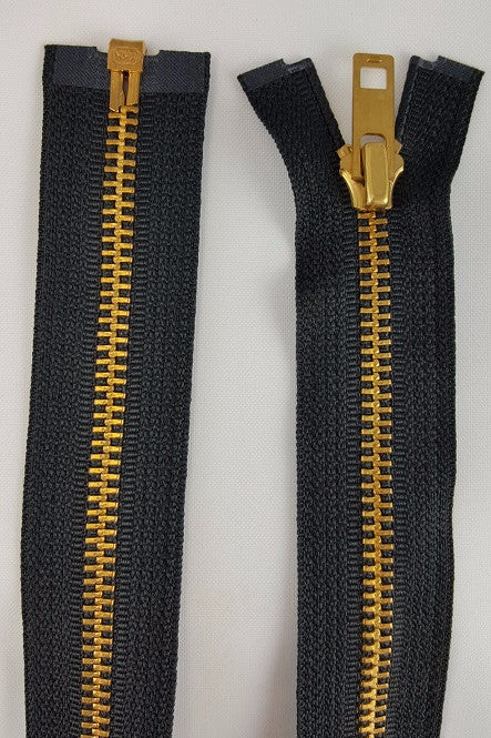 (Black) Brass Metal Separating Zippers, 24""