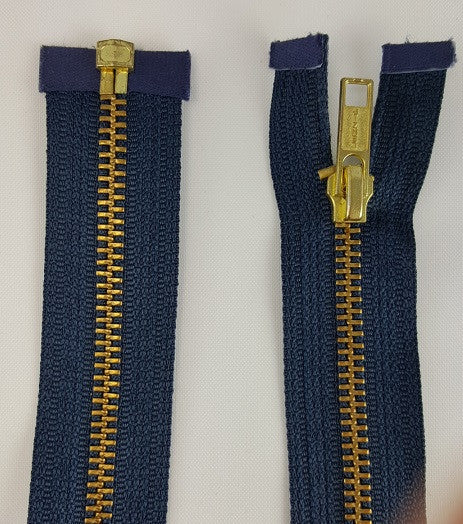 (Navy) Brass Metal Separating Zippers, 24""