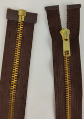 (Brown) Brass Metal Separating Zippers, 24""