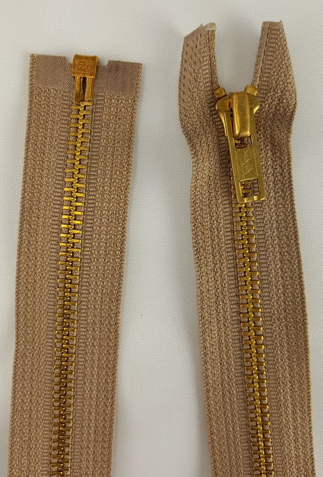 (Beige) Brass Metal Separating Zippers, 24""