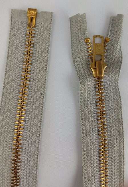 (Grey) Brass Metal Separating Zippers, 24""
