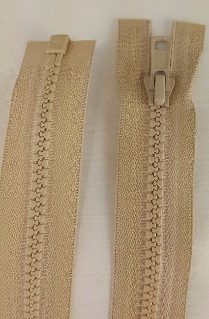 (Bone) Nylon Jacket Zippers, One Way, Molded Teeth 26""
