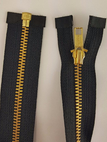 (Black) Brass Metal Separating Zippers, 30""