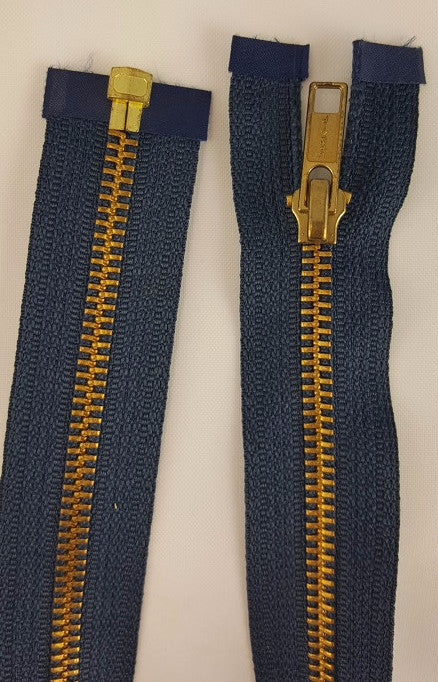 (Navy) Brass Metal Separating Zippers, 30""