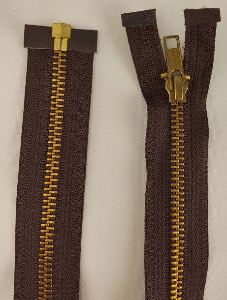 (Brown) Brass Metal Separating Zippers, 30""
