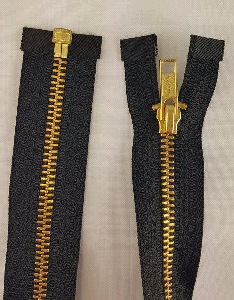 (Black) Brass Metal Separating Zippers, 36""