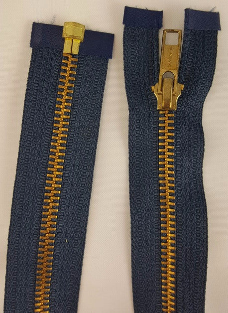 (Navy) Brass Metal Separating Zippers, 36""