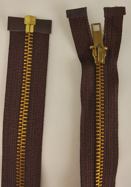 (Brown) Brass Metal Separating Zippers, 36""