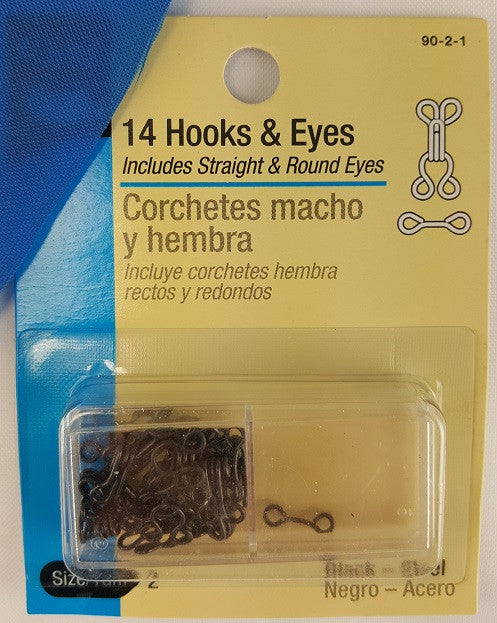 Hook & Eyes, Size 2, Black