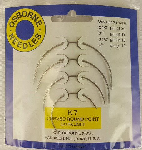 Curved Rd. Point X-Light Needle Card No. K-7