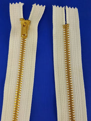 White Zipper Brass 24'' (each)