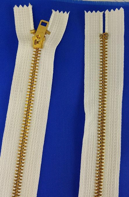 White Zipper Brass 30'' (each)