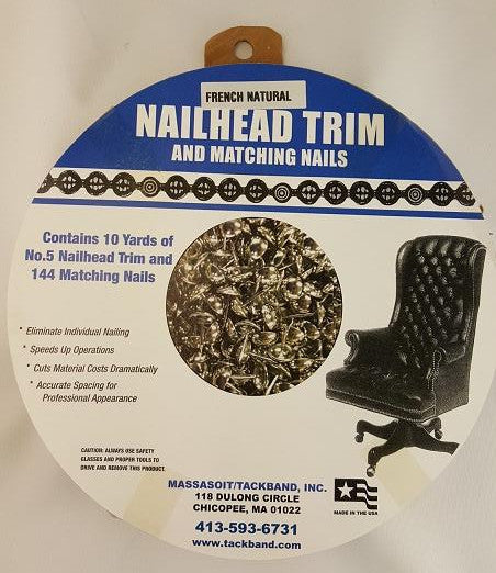 #5 French Natural Nailhead Trim with Natural Nails (10 yard kit)