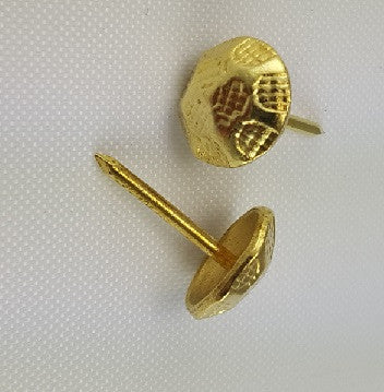 "(Yellow Brass) 7/16"" Decorative Oxford Hammered Tacks, Round (24)"