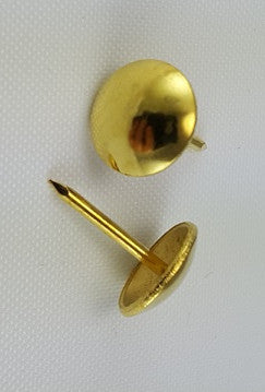 "(Brass) 7/16"" Decorative Upholstery Tacks, Round Smooth Head (24)"