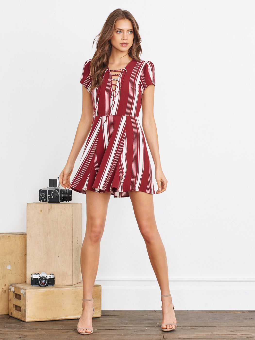 Lovers + Friends Compass Fit N Flare Dress - Cranberry Stripe