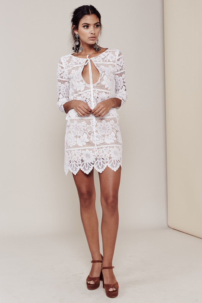 For Love & Lemons Gianna Mini Skirt | White