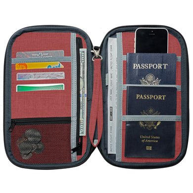 "RFID Travel Wallet, Document Organizer and Passport Holder, 10 x 6"" - Rustic"