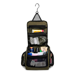 Medium Size Hanging Toiletry Bag with Detachable TSA Compliant Zipper Pocket & Swivel Hook - Green