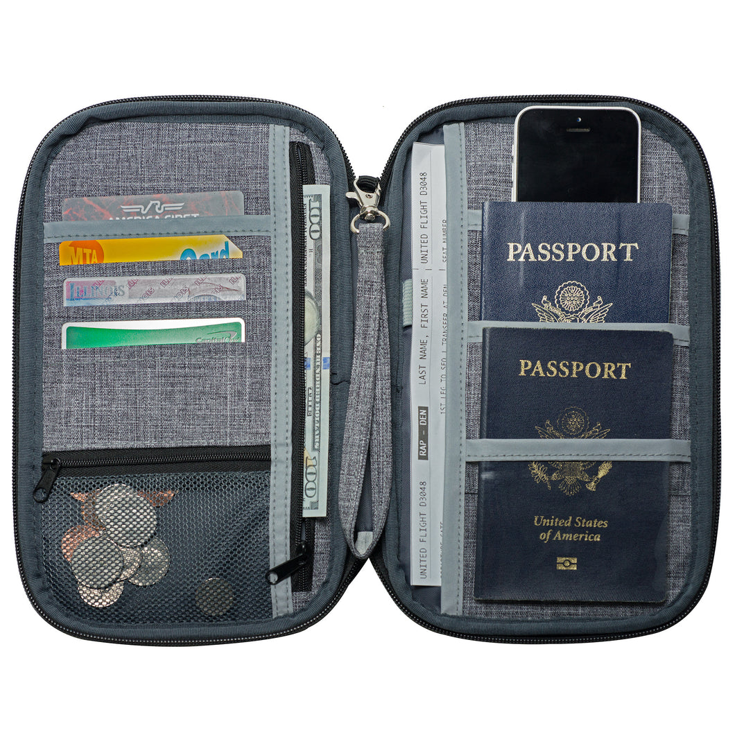 "RFID Travel Wallet, Document Organizer and Passport Holder, 10 x 6"" - Grey"