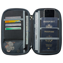 "RFID Travel Wallet, Document Organizer and Passport Holder, 10 x 6"" - Black"