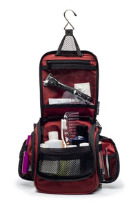 Compact Hanging Toiletry Bag & Organizer Water Resistant with Mesh Pockets and Sturdy Hook - Red