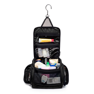 Medium Size Hanging Toiletry Bag with Detachable TSA Compliant Zipper Pocket & Swivel Hook - Black
