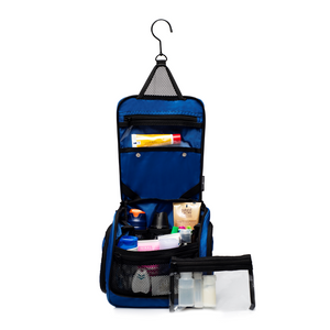 Medium Size Hanging Toiletry Bag with Detachable TSA Compliant Zipper Pocket & Swivel Hook - Blue