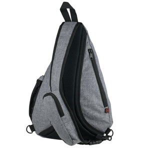 Versatile Canvas Sling Bag Backpack with RFID Security Pocket and Multi Compartments - Gray