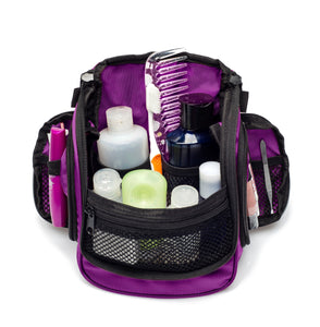 Compact Hanging Toiletry Bag & Organizer Water Resistant with Mesh Pockets and Sturdy Hook - Purple