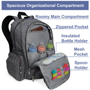Baby Diaper Backpack Organizer with Large Changing Pad, Stroller Straps and Insulated Bottle Pockets, Grey